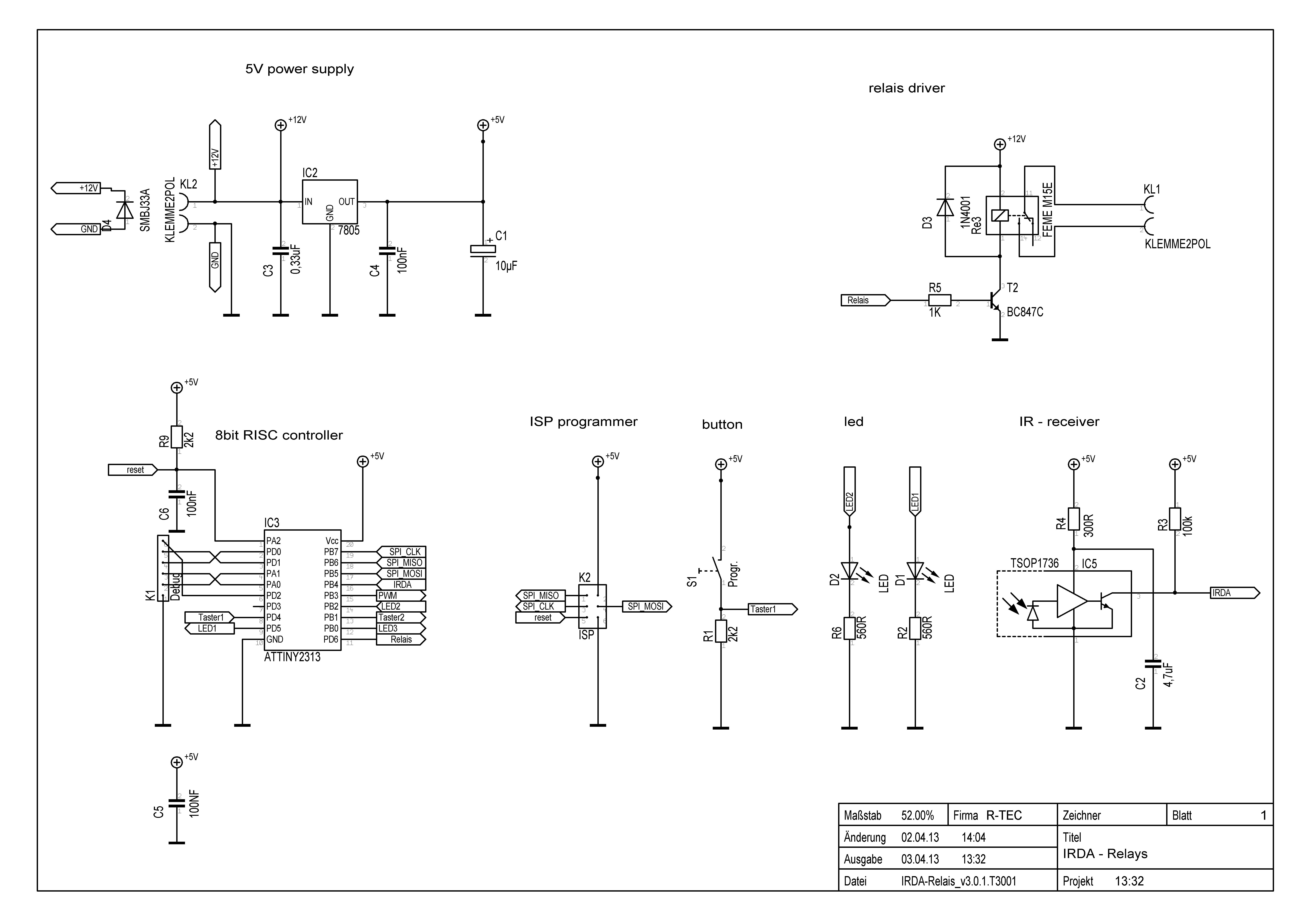 Irda V30 Infrared Switch Led Dimmer R Tec 7805 Schema Schematic